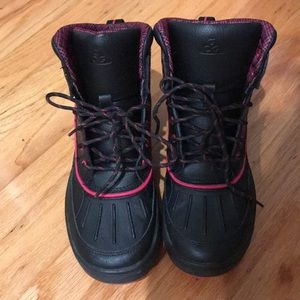 Pink and black nike boots